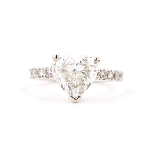heart shaped diamond custom engagement ring